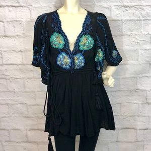 NEW Free People Embroidered Black Cora Dress XS